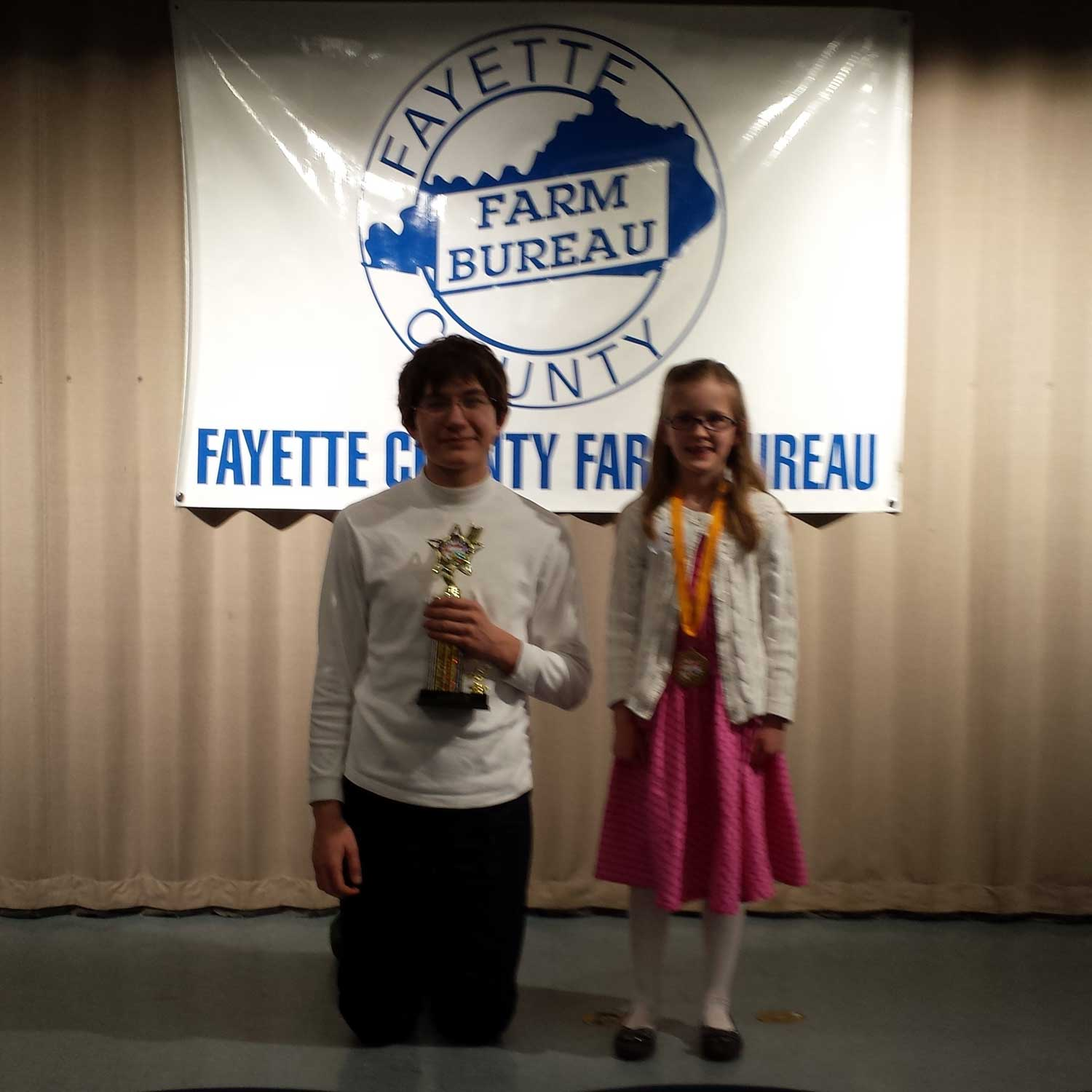2015 Spelling Bee Champs - Max Borgrad and Ashley Devore